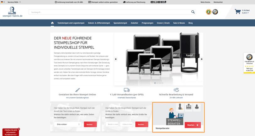 Der Screenshot zeigt einen Ausschnitt der Startseite von der Stempelfabrik. Der Online Shop gestaltet diese unter anderem, indem er eine Suchfunktion bereitstellt sowie auf das Angebot eines Produktberaters aufmerksam macht.
