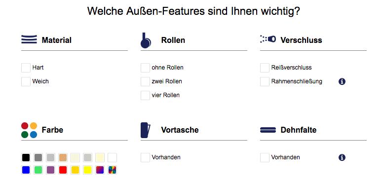 Das Bild zeigt ein Beispiel, wie 1:1-Kommunikation eingesetzt werden kann. Es wird ein Ausschnitt des Produktberaters im Lufthansa Worldshop dargestellt, der eine personalisierte Online-Produktberatung ermöglicht.