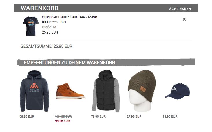 Warenkorb des epoq Demo-Shops inkl. Personalisierung.
