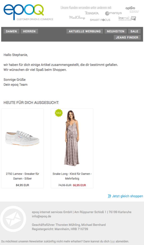 E-Mail aus dem epoq Demo-Shop mit Personalisierung der Inhalte.