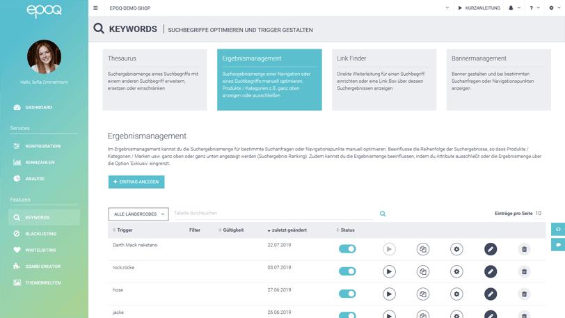 Der Screenshot zeigt das Ergebnismanagement im epoq Control Desk.