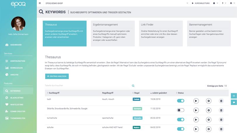 Der Screenshot zeigt die Thesaurus-Einstellungen im epoq Control Desk.