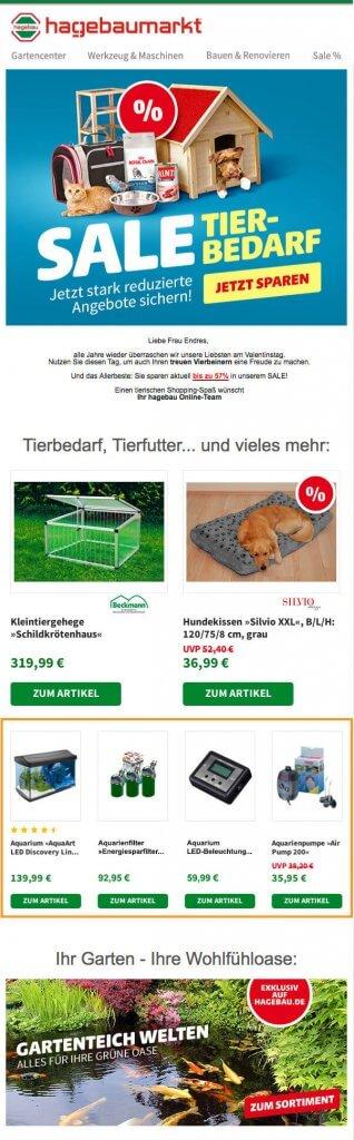 Das Bild zeigt ein Beispiel für einen Newsletter zum Thema Tierbedarf. Neben themenspezifischem Content finden Empfänger hier auch personalisierte Empfehlungen, abgestimmt auf ihre jeweiligen Präferenzen. Personalisierte E-Mails gehören zu den bedürfnisorientierten After-Sales-Maßnahmen.