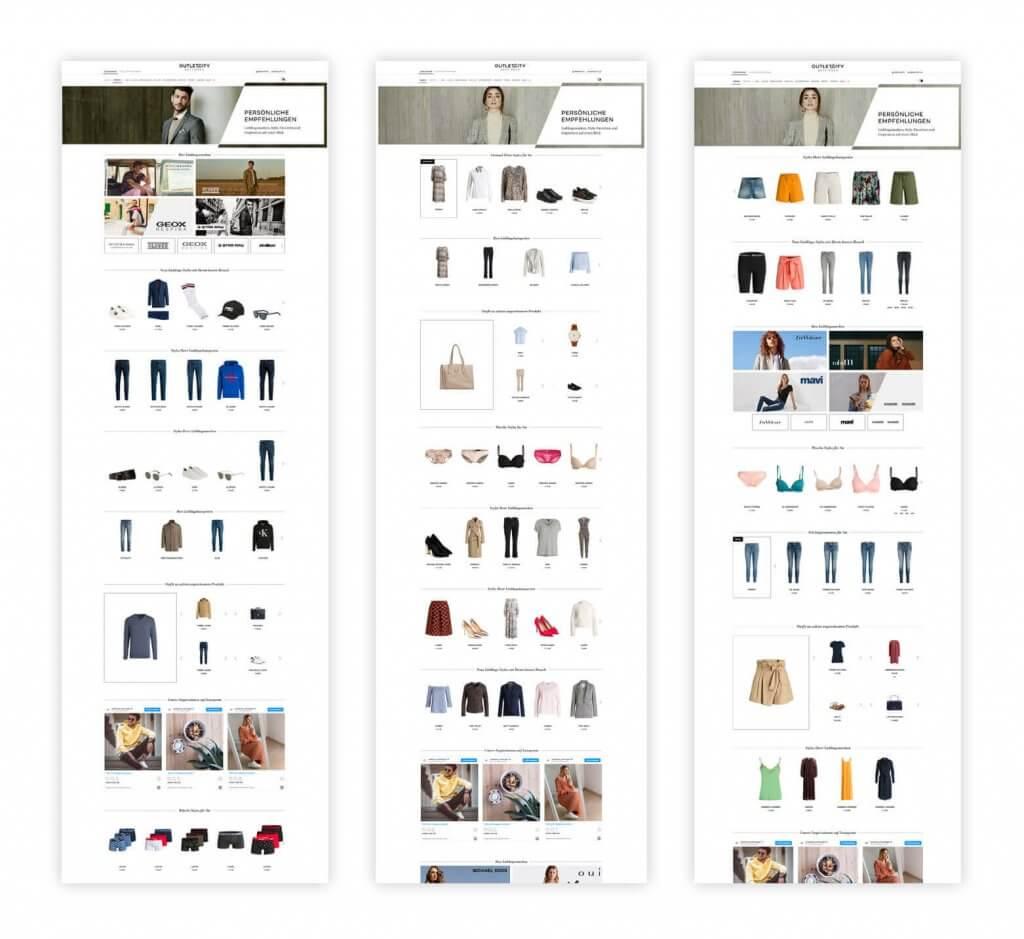 Das Bild zeigt drei verschiedene Stream im Online Shop von OUTLETCITY METZINGEN als Beispiel. Der personalisierte Shoppingbereich gehört dabei zu den bedürfnisorientierten After-Sales-Maßnahmen.