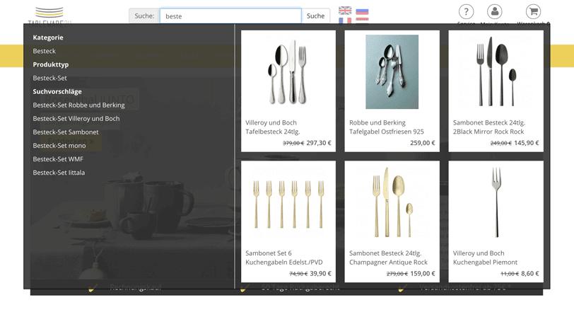 """Der Screenshot zeigt die Autosuggest-Funktion des Online Shops Tableware24 zum Suchbegriff """"beste""""."""