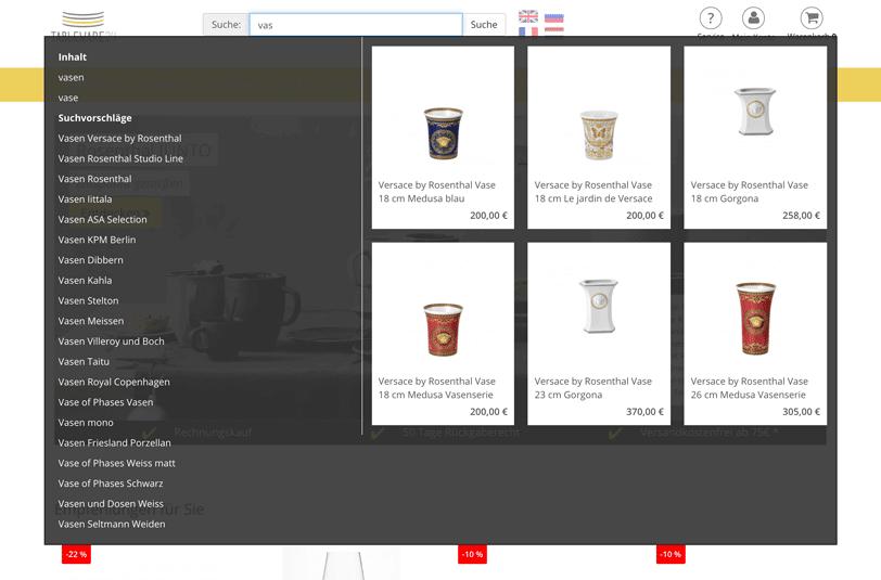 """Der Screenshot zeigt die Autosuggest-Funktion des Online Shops von Tableware24 zum Suchbegriff """"vas""""."""