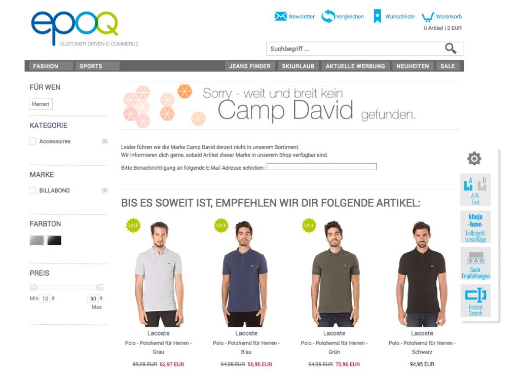 """Der Screenshot zeigt die Frontend-Ansicht für ein Beispiel im Banner Managment. Der User wird bei Eingabe des Keywords """"camp david"""" auf alternative Produkte hingewiesen. Die Zielsetzung dabei: Conversion steigern."""