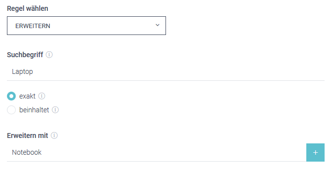 """Der Screenshot zeigt ein Beispiel im Thesaurus um die Conversion zu steigern. Bei Eingabe des Suchbegriffs """"Laptop"""" werden bei Auswahl der Erweitern-Regel auch Ergebnisse zu """"Notebook"""" angezeigt."""