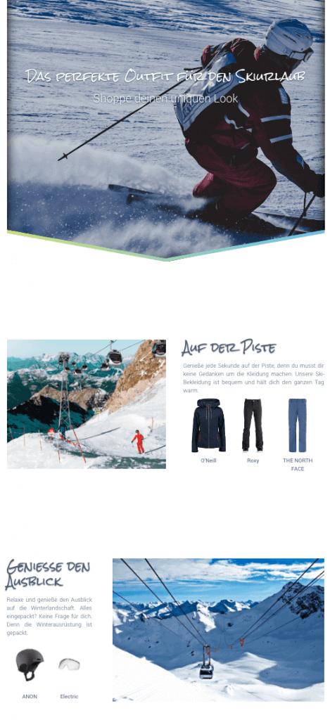 Dargestellt wird ein Screenshot, der zeigt, wie digitales Storytelling zum Thema Ski-Urlaub aussehen kann.