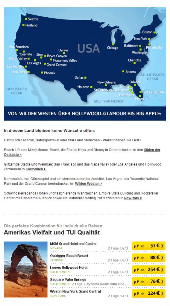 Screenshot vom TUI-Newsletter mit dynamischer Preisanpassung.