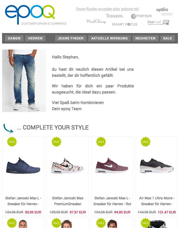 Ein Screenshot einer E-Mail von einem Online Shop mit E-Commerce-Recommendations.
