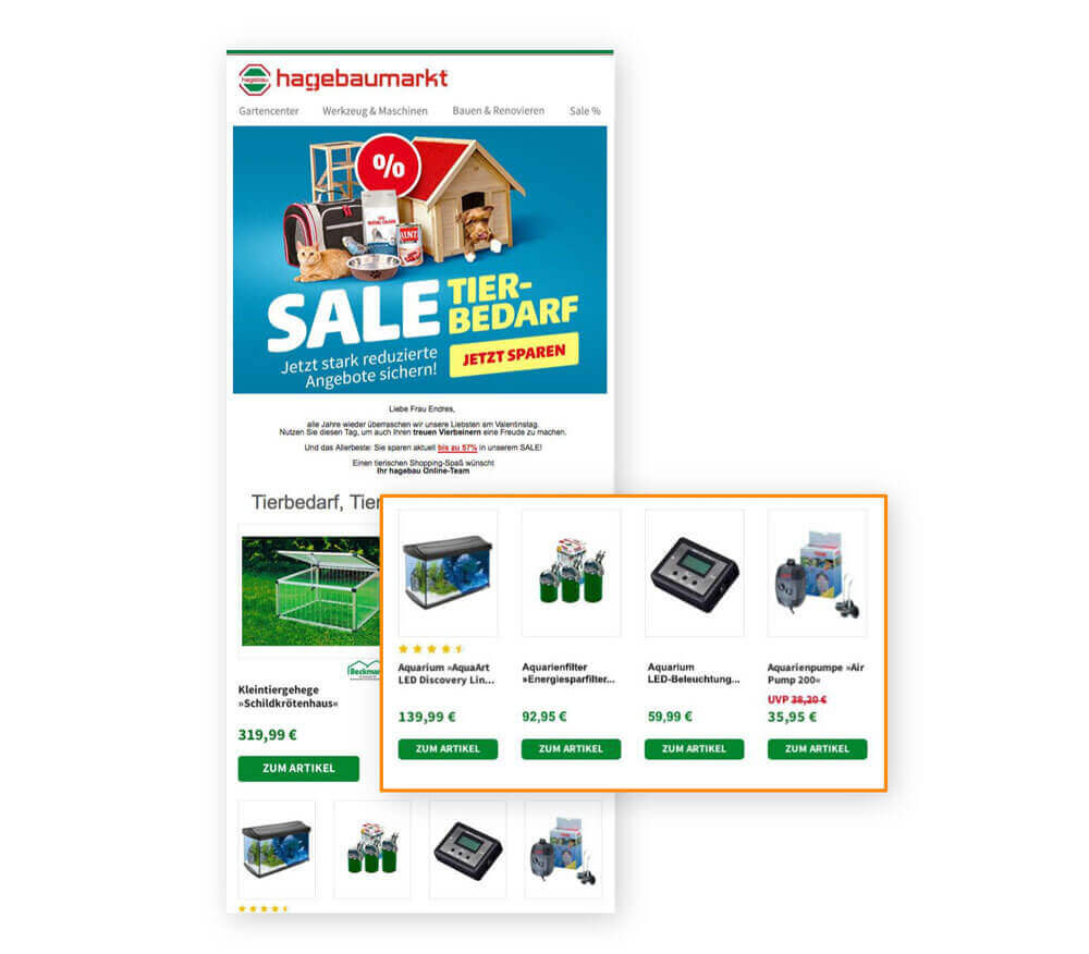 Screenshot of a theme e-mail from hagebaumarkt with personal recommendations on aquaristics.