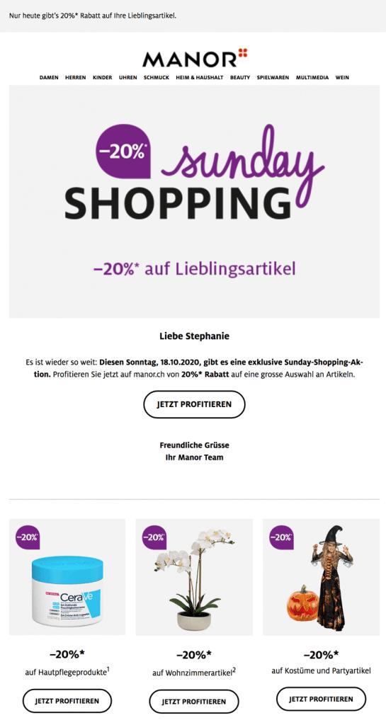 Screenshot der personalisierten Anrede im Newsletter von Manor als Baustein der E-Mail-Personalisierung.
