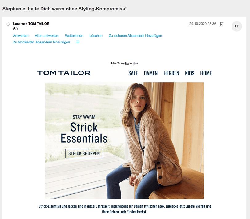 Screenshot eines personalisierter Betreffs im Newsletter von Tom Tailor als Baustein der E-Mail-Personalisierung.