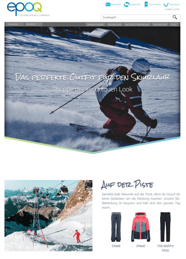 Der Screenshot zeigt ein Beispiel einer Landingpage mit der Themenwelt Ski.