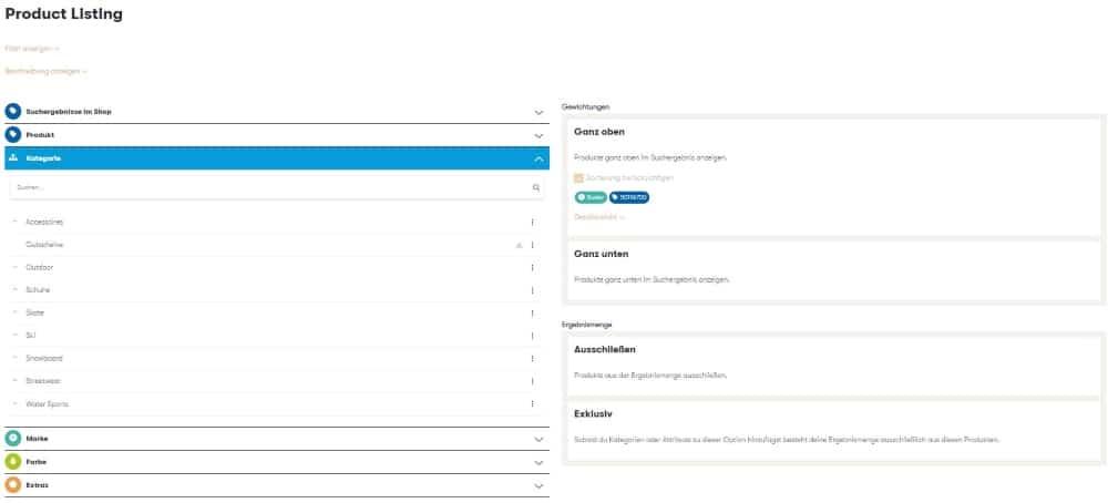 Der Screenshot zeigt die Auswahl von Produkten über Kategorien im Ergebnismanagement des Control Desk.