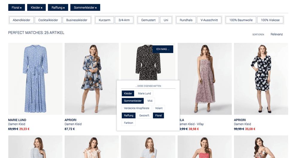 Ausschnitt einer Mode-Beratung durch Tags im Online Shop für die Gestaltung der Guided Selling UX