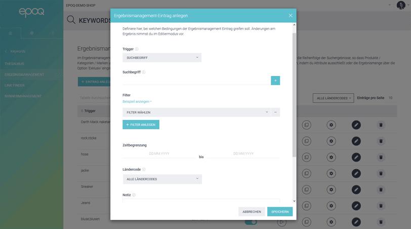 Der Screenshot zeigt einen Ausschnitt des Ergebnismanagements aus dem epoq Control Desk.
