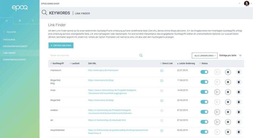 Der Screenshot zeigt einen Ausschnitt des Link Finders aus dem epoq Control Desk.