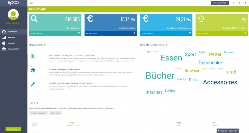 Dargestellt wird ein Screenshot des Login-Bereichs im epoq Control Desk. Das Bild zeigt dabei den Menüpunkt Dashboard.