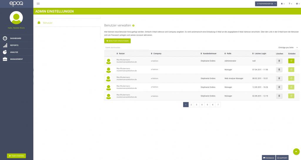 Abgebildet wird ein Screenshot des Login-Bereichs, der das Rollenmanagment im epoq Control Desk zeigt.