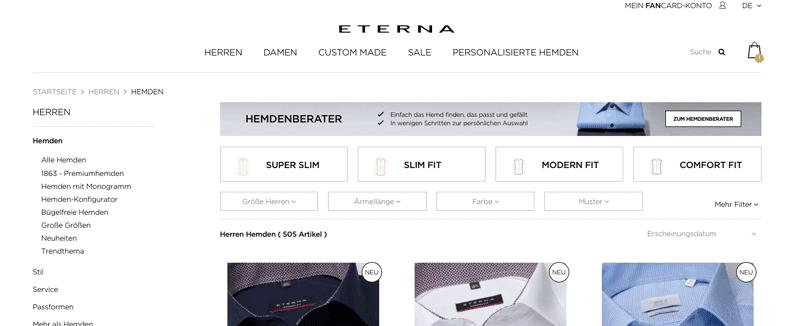 Screenshot des Banner-Hinweises in der Kateogorie Hemden des Hemdenberaters von Eterna.