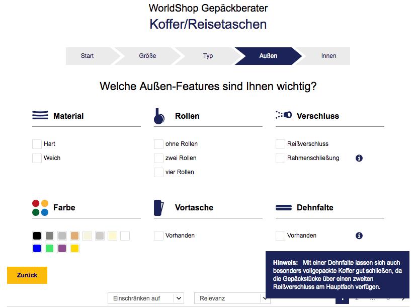 Screenshot des Gepäckberaters im Lufthansa Worldshop zur Erklärung des Info-Icons für einen Online-Produktberater.