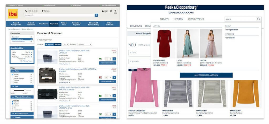 Example of a facet navigation in the online shop of iba (left) and a type-ahead function with preview images in the fashion shop of Peek & Cloppenburg Hamburg (right).