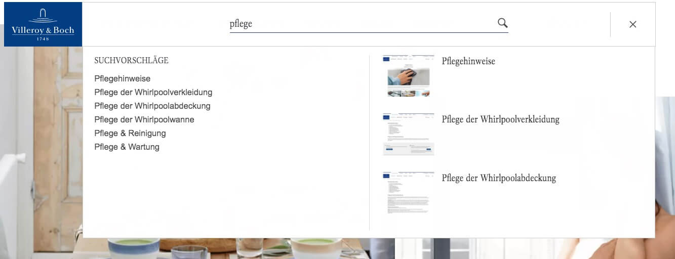 Example of finding content via onsite search in the Villeroy & Boch online shop