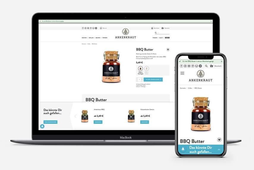 Das Bild zeigt ein Beispiel für Personalisierung. Dargestellt werden ein Laptop und ein Smartphone auf denen man das Cart Layer im Online Shop von Ankerkraut sieht.