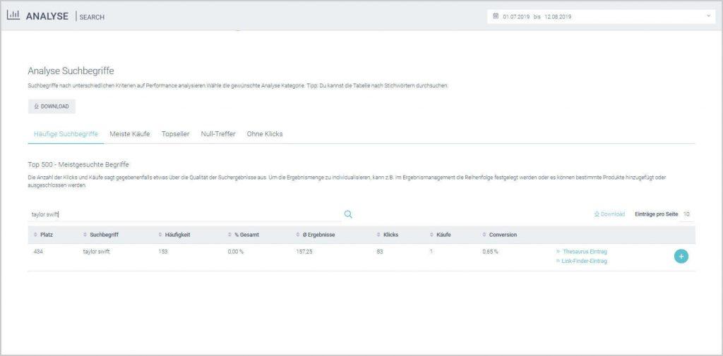 Der Screenshot zeigt die qualitative Analyse der häufigsten Suchbegriffe im epoq Control Desk vor der Suchergebnisbearbeitung.