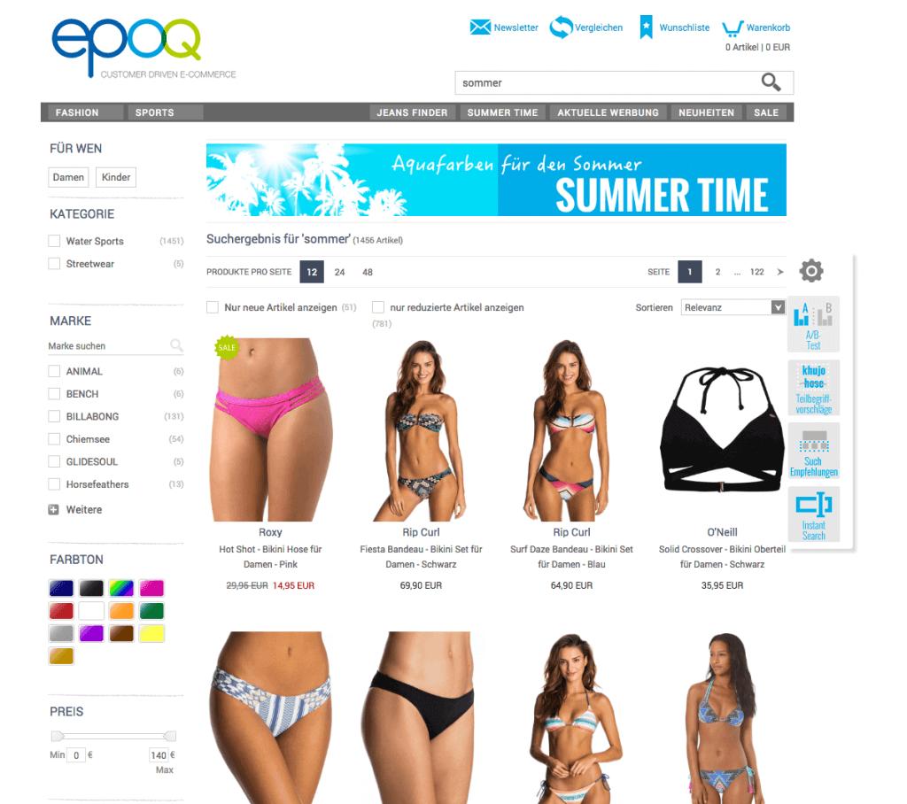 epoq Demo-Shop mit der Suchtechnologie Banner