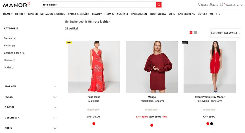 """Der abgebildete Screenshot zeigt die Sucheingabe """"rote kleider"""" in einem Online-Shop. Um die Sucheingabe verstehen und bearbeiten zu können, benötigt der Online-Shop eine semantische Suche."""