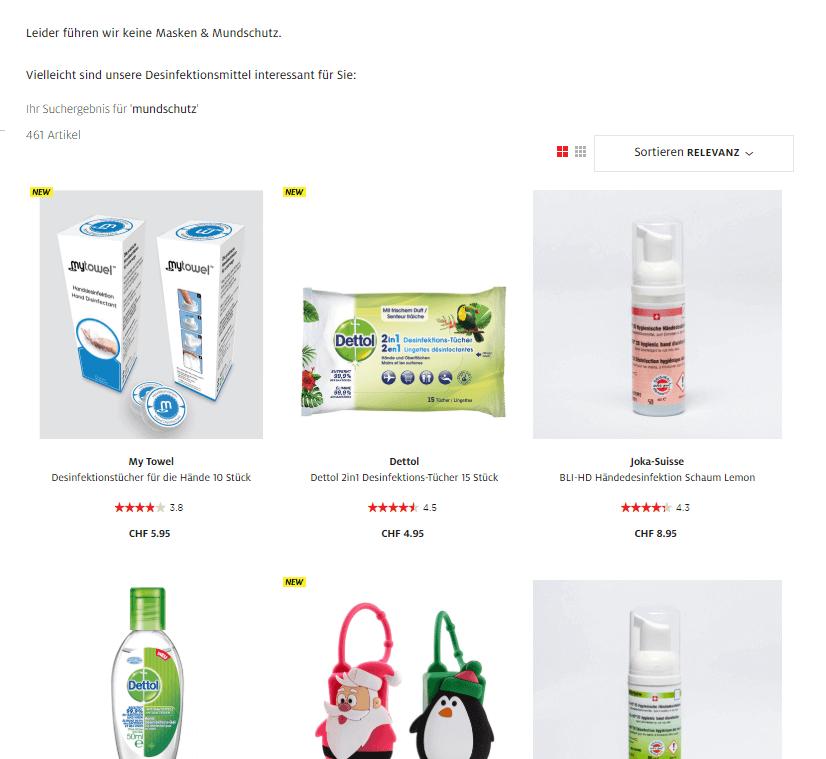 """Der Screenshot zeigt die Suchergebnisseite zur Suchanfrage """"mundschutz"""". Da diese Produkt nicht im Online Shop geführt wird, wird der Nutzer auf alternative Produkte hingewiesen."""