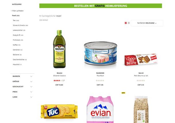 Das Bild zeigt einen Hinweis im Online Shop, der auf den speziellen Service einer Gratis Heimlieferung aufmerksam macht.