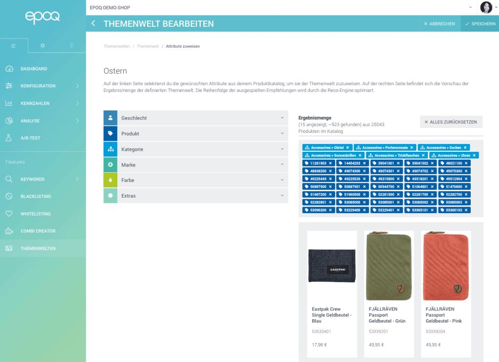 Der Screenshot zeigt den Bearbeitungsmodus des Features Themenwelt im epoq Control Desk.