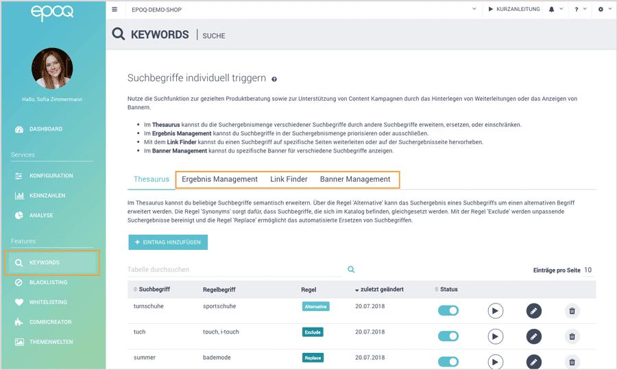 Der Screenshot zeigt die verschiedenen Funktionen für Searchandising im Control Desk.
