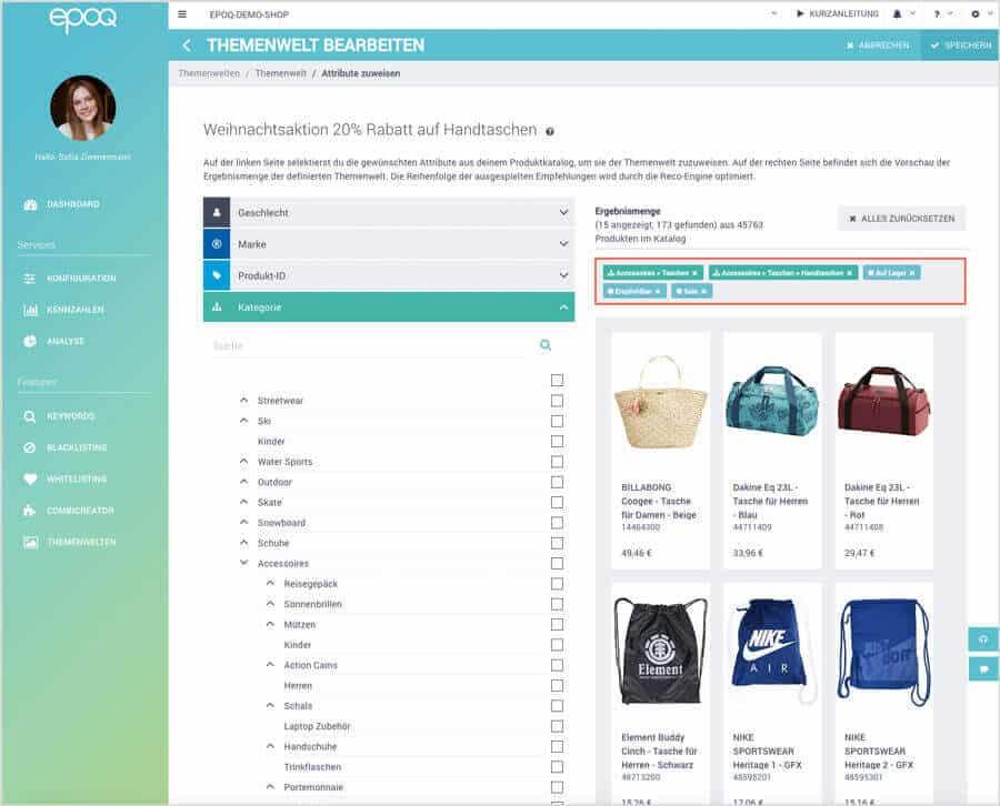 Der Screenshot zeigt den Themenwelt-Editor im epoq Control Desk.