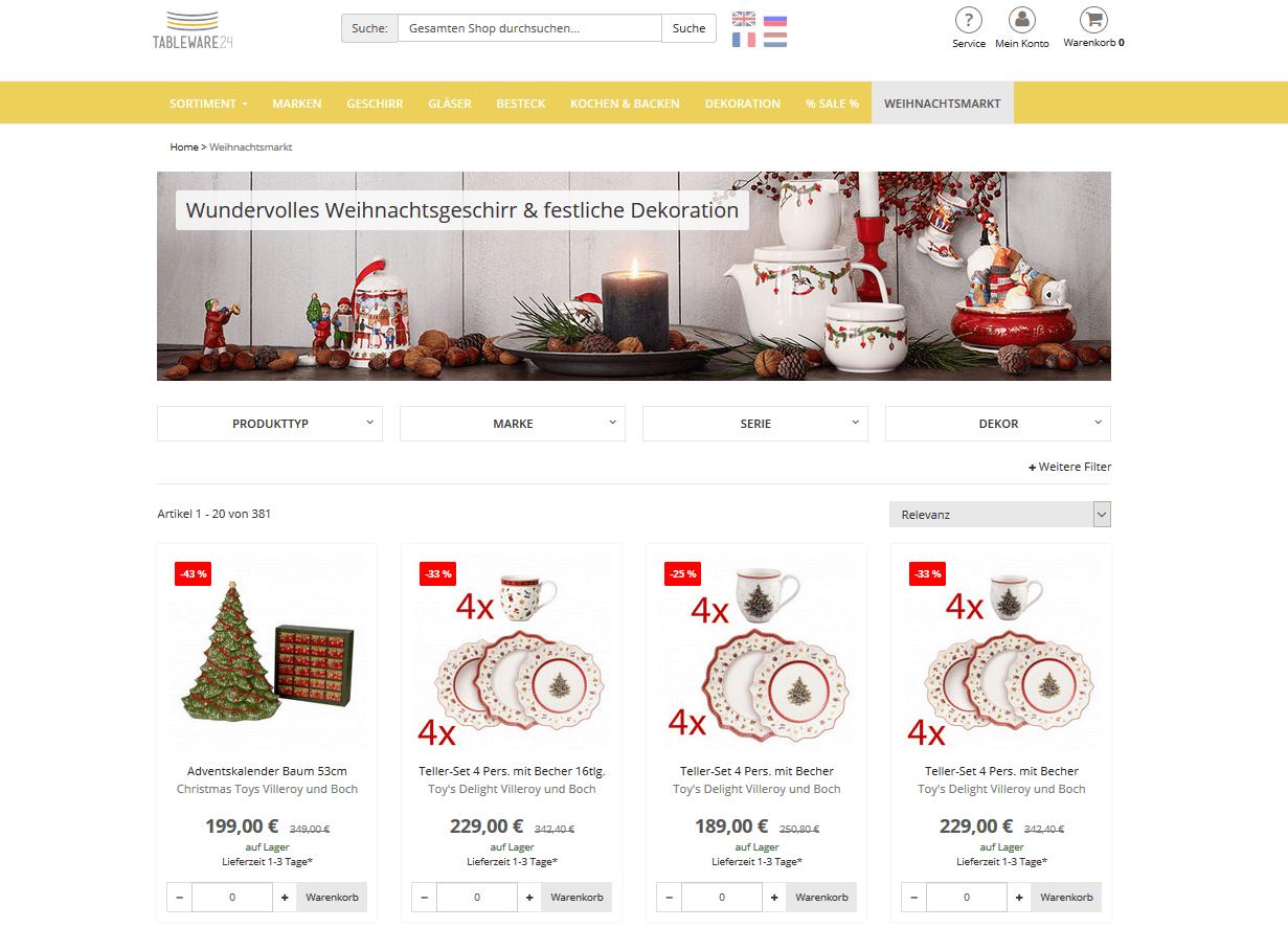 """Der Screenshot zeigt die Shopseite """"Weihnachtsmarkt"""" im Online Shop von Tableware24, auf der Kunden weihnachtliche Produkte finden."""