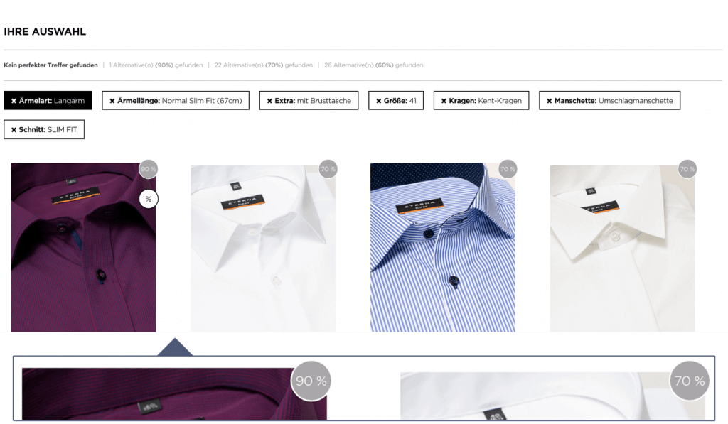 Screenshot of the shirt advisor from ETERNA in which the customer can choose between different kind of collars.