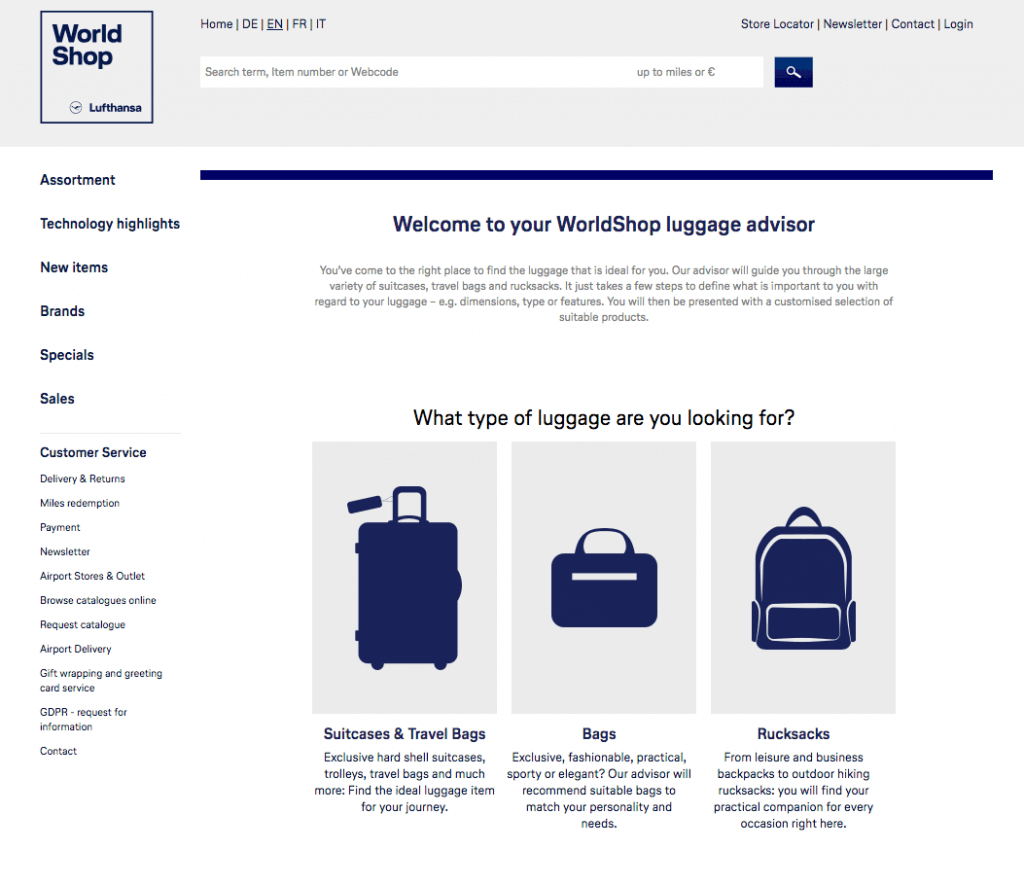 Screenshot of WorldShop's luggage advisor from Lufthansa