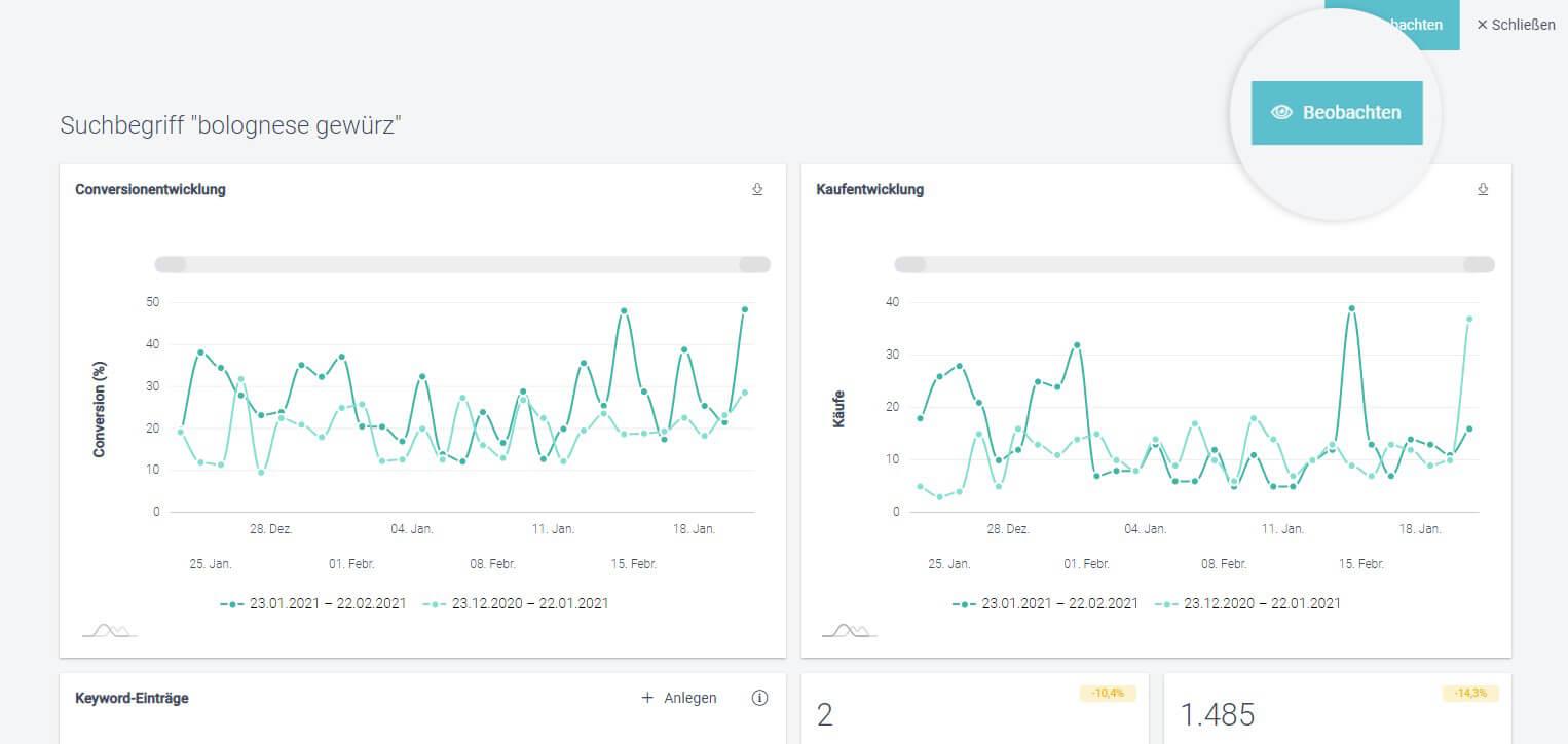 Der Screenshot zeigt die Controlling-Funktion im Analyse-Suche-Bereich im Control Desk, mit der angelegte Optimierungen überprüft werden können.