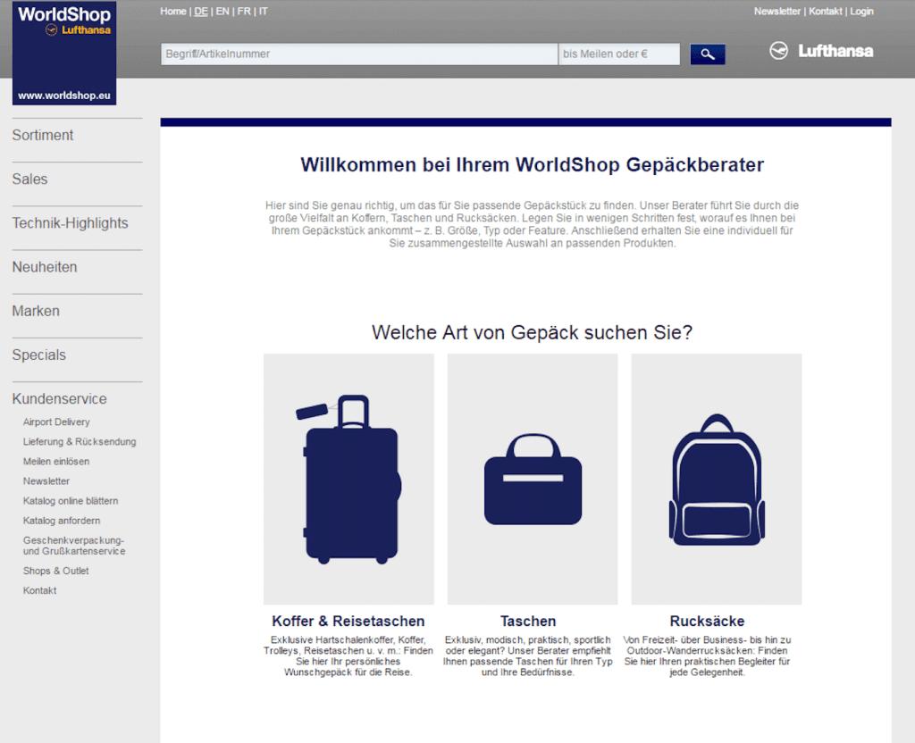 Screenshot des digitalen Gepäckberaters des Lufthansa Worldshops für das Retourenmanagement.