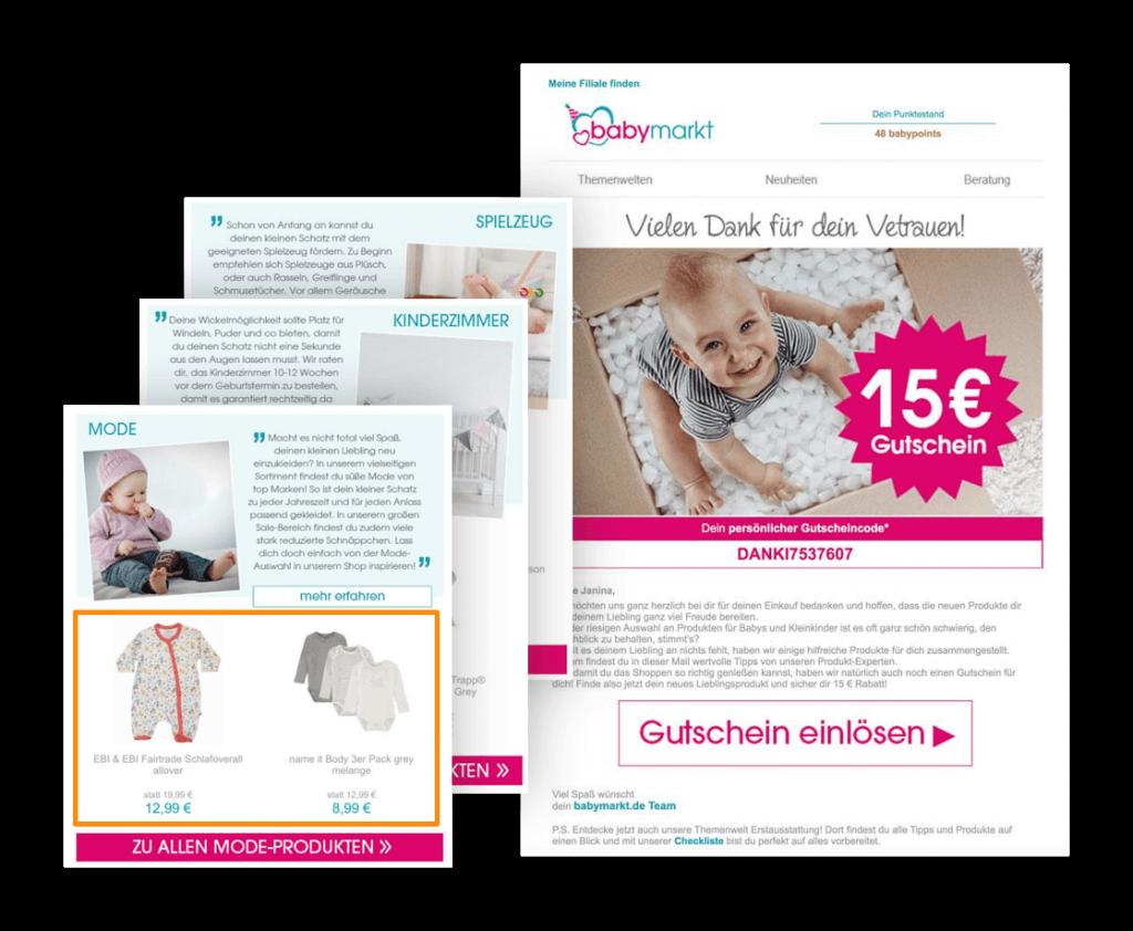 Das Bild zeigt ein Beispiel für One-to-One-Marketing in Form eines Newsletters von babymarkt.de mit personalisierten Empfehlungen zu verschiedenen Kategorien.