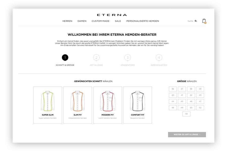 Das Bild zeigt den Hemdenberater im Online Shop von ETERNA als Beispiel für einen Produktberater, der One-to-One-Marketing ermöglicht.
