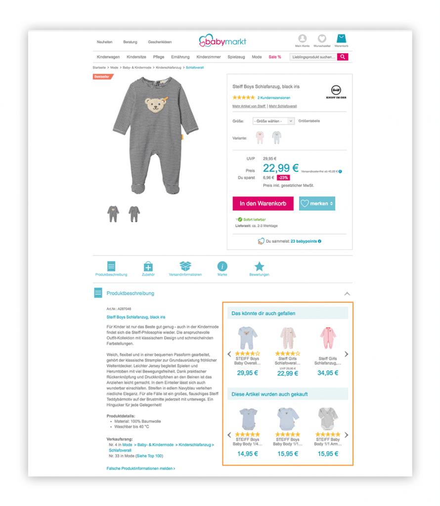 Das Bild zeigt personalisierte Produktempfehlungen auf einer Produktdetailseite im Online Shop von babymarkt.de.