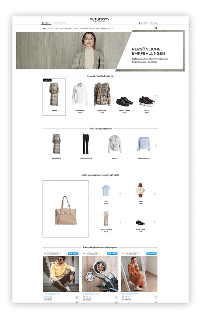 Das Bild zeigt ein Beispiel für einen personalisierten Shoppingbereich im Online Shop von Outletcity Metzingen als Maßnahme des One-to-One-Marketings.