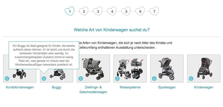 """Das Bild zeigt den Produktberater zu Kinderwagen von babymarkt.de. Das dargestellte Info-Icon enthält die Erklärung für einen Fachbegriff (im Beispiel: """"Buggy"""")."""