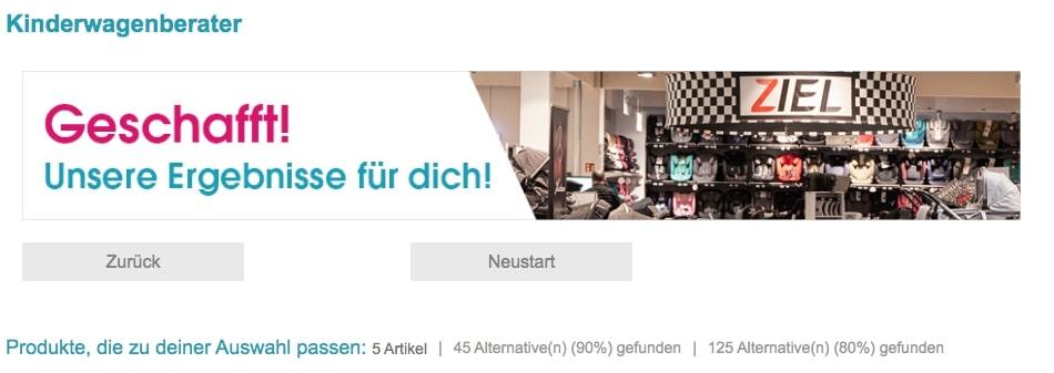 """Das Bild zeigt ein Banner mit der Aufschrift """"Geschafft!"""", welches erscheint, sobald ein Shopkunde den Beratungsprozess für Kinderwagen auf babymarkt.de durchlaufen hat."""