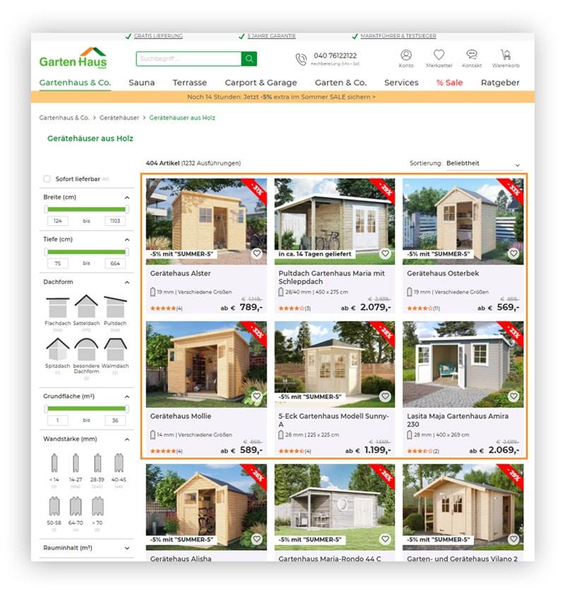 Beispiel für ein Recommendation Widget als Tile im Online Shop von A-Z Gartenhaus